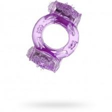 Фиолетовое виброкольцо с двумя вибропульками ToyFa