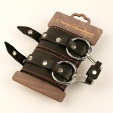 Однослойные наручники из натуральной кожи с контрастной строчкой
