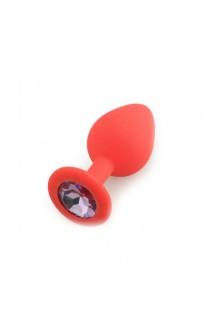 Silicone Butt Plug  Shape Medium, красный /светло-фиолетовый  D 3,5 см L 8 см