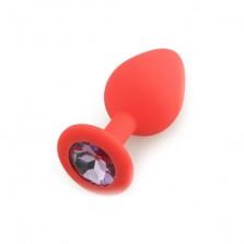 Runyu Silicone Butt Plug  Shape Medium, красный /светло-фиолетовый  D 3,5 см L 8 см
