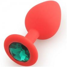 Silicone Butt Plug  Shape Medium, красный /зеленый  D 3,5 см L 8 см